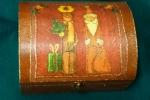 """""""Αη Βασίλης και Τάρανδος"""" (Ξύλινο κουτί)."""